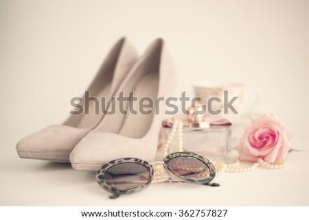 Pink heels still life  - stock photo