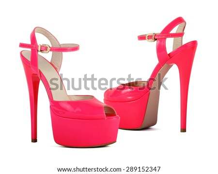 Pink high heel women shoes isolated on white background - stock photo