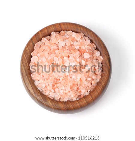 pink Himalayan salt in a bowl, isolated - stock photo