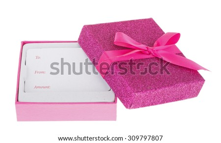 Pink holiday gift box isolated on white - stock photo