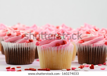 Pink Holiday Valentine's Day Cupcakes - stock photo