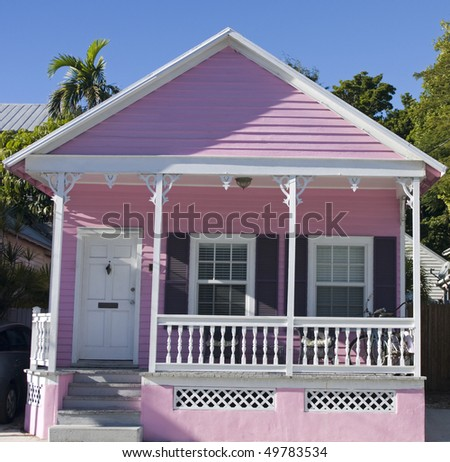 Pink House in Key West, Florida - stock photo
