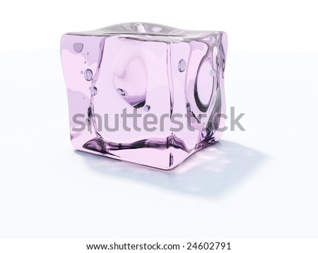 Pink ice cube isolated on white - stock photo