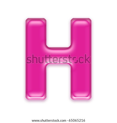 H Letter In Pink pink jelly letter isolated on