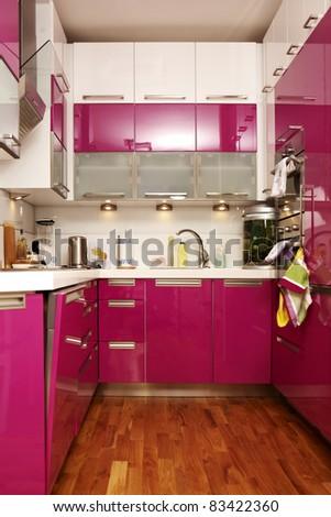 Pink kitchen interior - stock photo