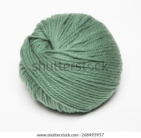 Pink knitting wool in front white background - stock photo