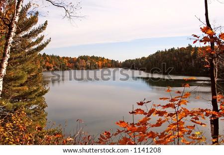Pink Lake horizon - stock photo