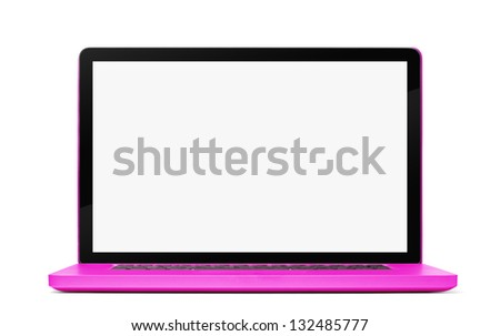 Pink Laptop isolated on white background. Focus on screen. Clipping path included. - stock photo