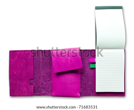 pink leather notebook isolated - stock photo