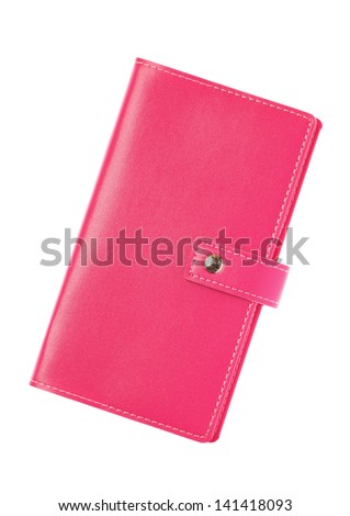 Pink leather notebook isolated on a white background - stock photo