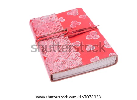 Pink leather notebook isolated on white background - stock photo