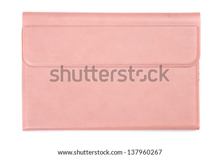 Pink leather tablet computer bag on a white background - stock photo