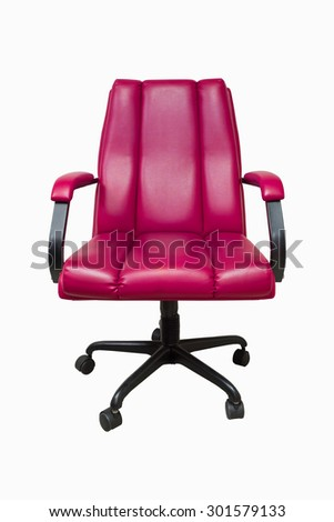 Pink Leather Tilt Swivel Office Chair with Casters. - stock photo
