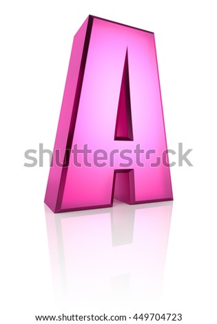 Pink letter A isolated on white background. 3d rendering - stock photo