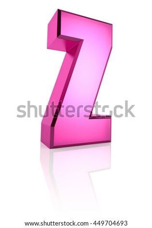 Pink letter Z isolated on white background. 3d rendering - stock photo