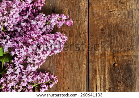Pink lilac branch on a rustic wood panels - stock photo