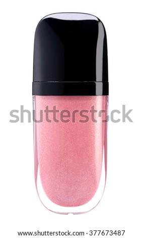 Pink lip gloss tube isolated on white background - stock photo