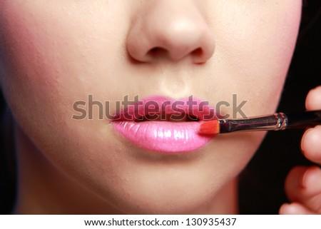 Pink  lips - stock photo