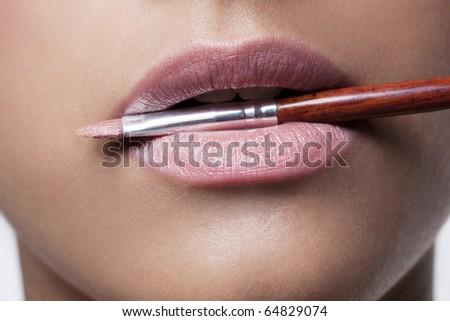 Pink Lipstick & Lipbrush - stock photo