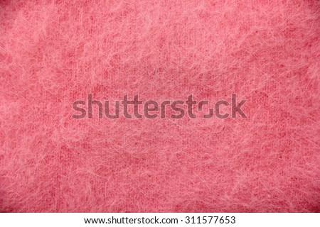Pink long hair wool knitting texture. - stock photo