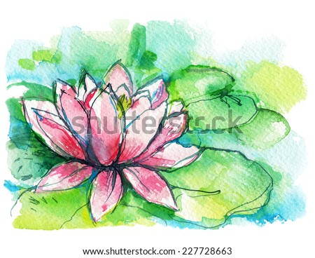 pink Lotus flower with green leaves, watercolor sketch, postcard - stock photo