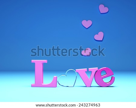 pink Love and hearts on blue background. 3d render illustration - stock photo
