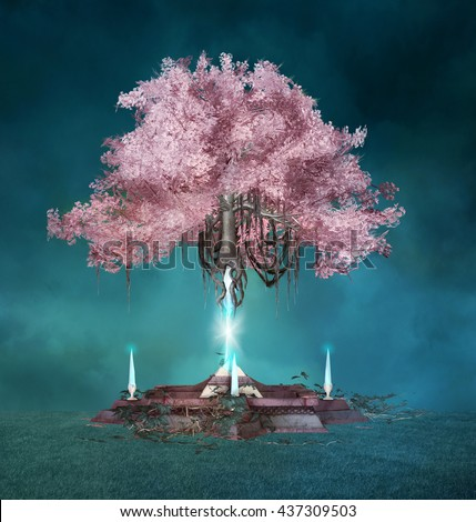 Pink magic tree - 3D illustration - stock photo