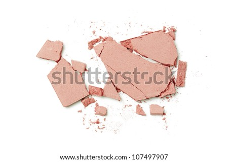 pink make up powder on white background - stock photo