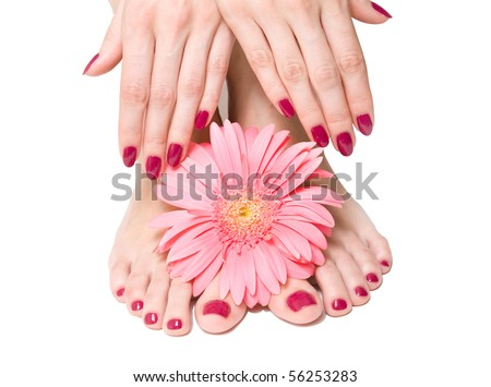 Pink manicure and pedicure with a flower - stock photo