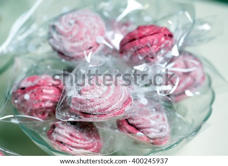 Pink meringues - stock photo