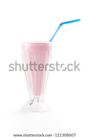 Pink milk shake isolated on white - stock photo