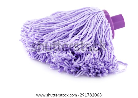 Pink mop isolated on white background. - stock photo