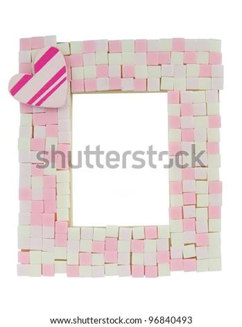Pink mosaic photo frame - stock photo