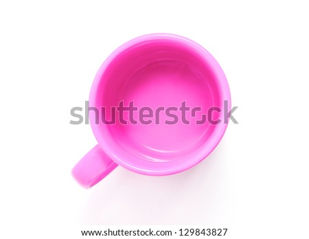 Pink mug isolated on white background, the top view - stock photo