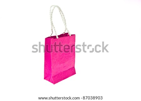 Pink mulberry paper bag isolated on white background - stock photo