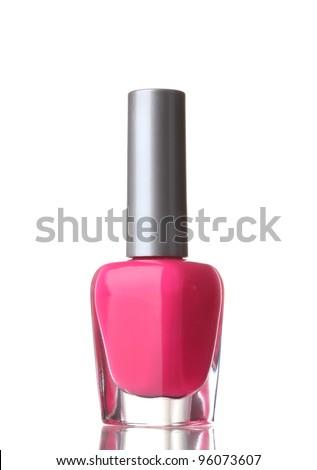 Pink nail polish on white background - stock photo