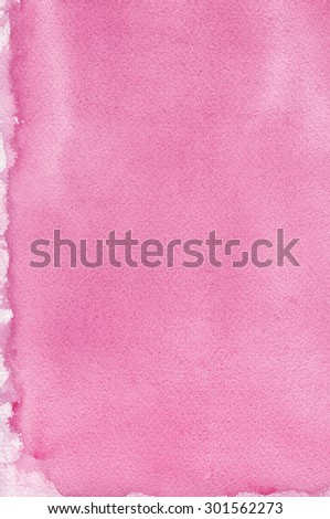 Pink natural handmade aquarelle painting texture pattern, vertical textured watercolor paper macro closeup copy space background, large detailed sheet - stock photo