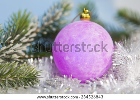 Pink New Year's ball, small depth of sharpness - stock photo