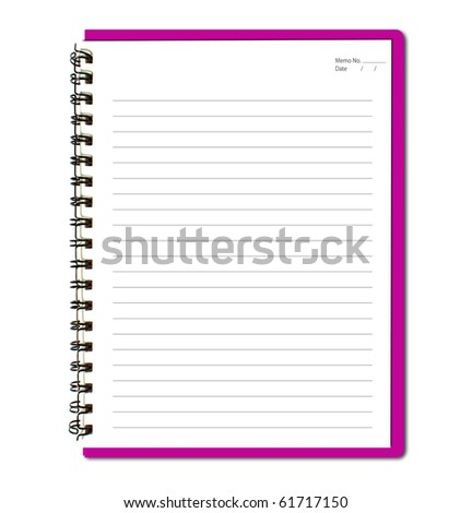 Pink notebook (blank paper) - stock photo