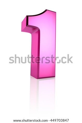 Pink number 1 isolated on white background. 3d rendering - stock photo