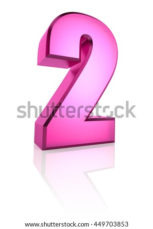 Pink number 2 isolated on white background. 3d rendering - stock photo