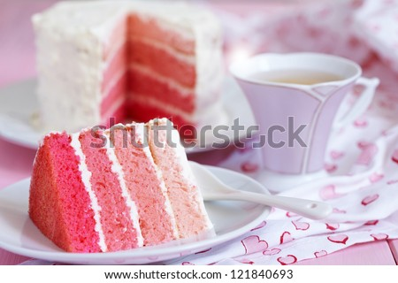 Pink Ombre Cake for holiday - stock photo