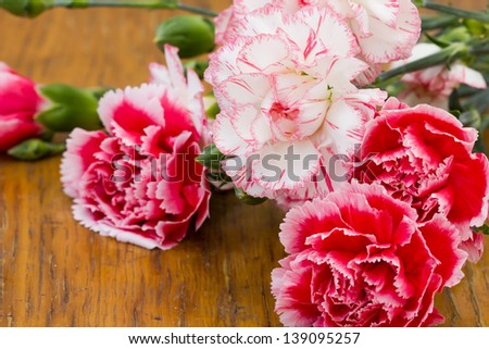 Pink on wooden background. Selective focus. - stock photo