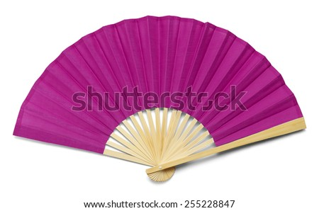 Pink Open Hand Fan Isolated on a White Background. - stock photo