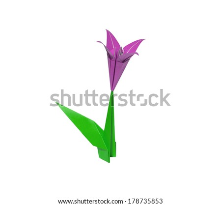 Pink origami flower lily isolated on white - stock photo