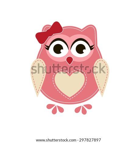 Pink owl. Raster version - stock photo
