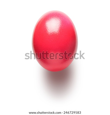 Pink painted easter egg isolated on white background. Object with clipping path  - stock photo