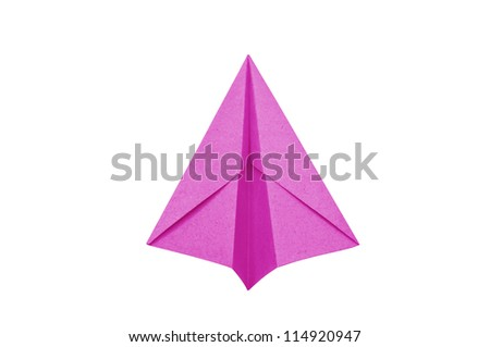 Pink Paper aircraft, Paper Plane on a white background, - stock photo