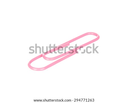 Pink paper clip isolated on white background - stock photo