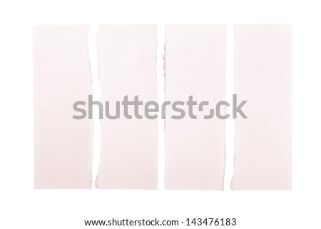 Pink paper strips torn apart and isolated over a white background - stock photo